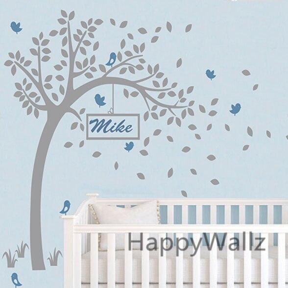 Baby Nursery Tree Wall Sticker DIY Custom Name Tree Wall Decal Kids Room  Children Name Wall