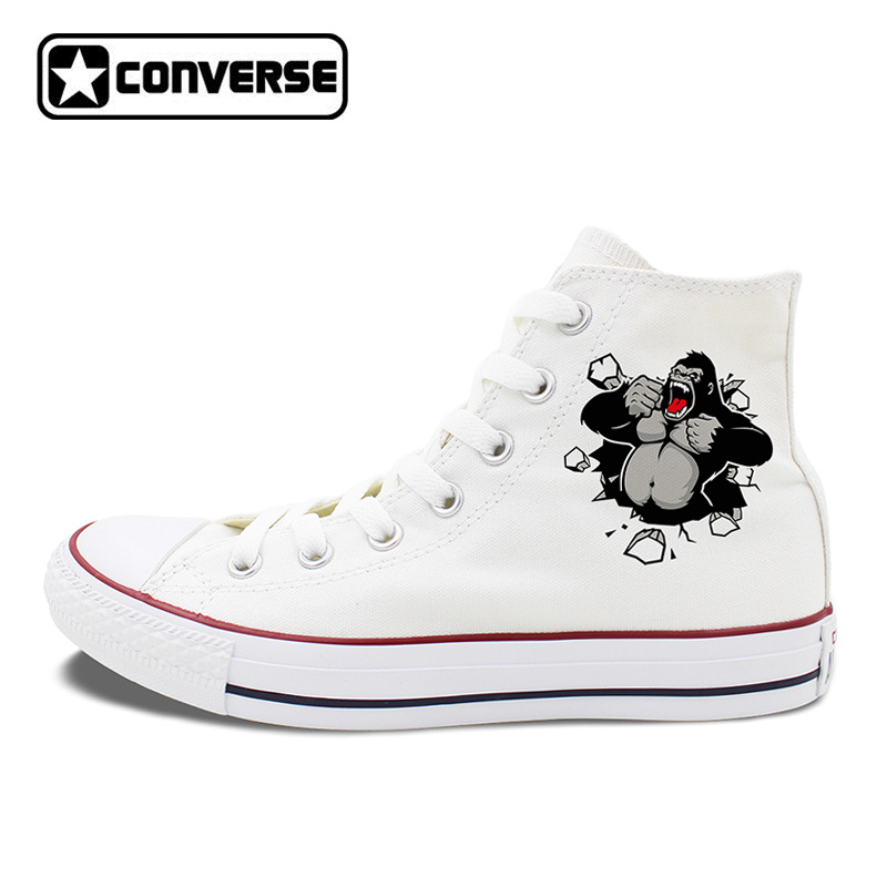 Original Design Gorilla Converse Shoes White Black Canvas Sneakers High Tops Lace Up Closure Pumps for Men Women converse all star high top shoes for men women dreamcatcher design flats lace up canvas sneakers for gifts