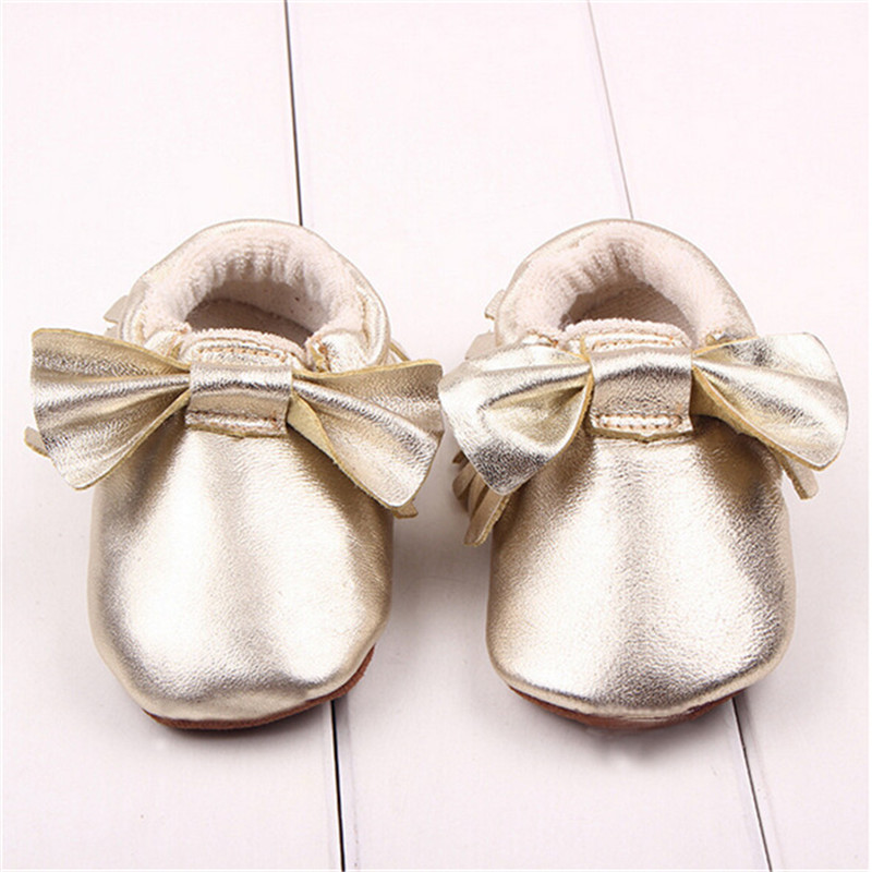 1 pair Genuine Cow Leather Baby Shoes Anti-slip Baby Moccasins Bowknot Soft Moccs Newborn Baby firstwalker Infant Shoes Footwear