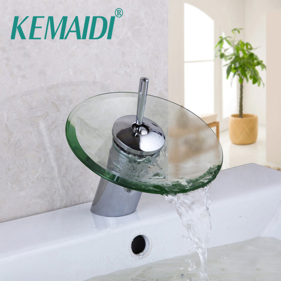 KEMAIDI RU Free Shipping Bathroom Basin Mixer Tap Waterfall Faucet Sink Vessel Chrome Polished Finished Glass Excellent Quality
