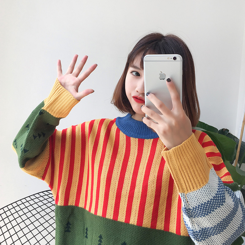 Image 2 - Womens Sweaters Kawaii Ulzzang Loose Wild Color Stitching Knitted Sweater Female Korean Harajuku Jumper Pullover For WomenPullovers   -