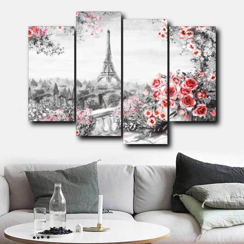 Laeacco Canvas Calligraphy Painting Garden Posters Prints Paris Tower Flower Wall Art Pictures for Living Room Home Decoration in Painting Calligraphy from Home Garden