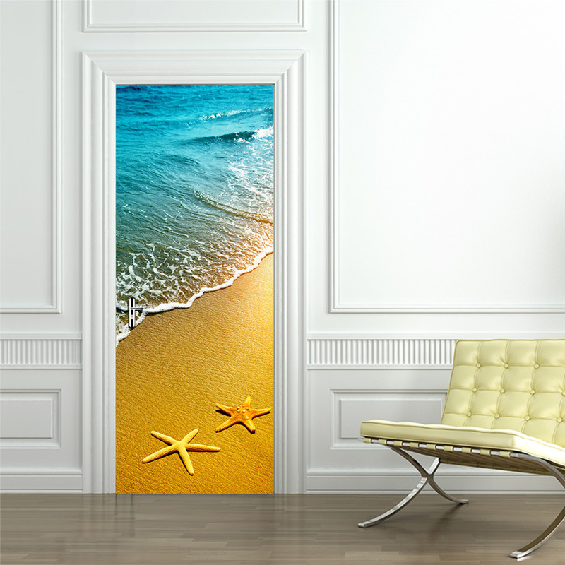 Landscape Golden Beach Blue Sea Seastars Door / Wall Sticker Shop Office Home Cafe Hotel Decoration FREE SHIPPING Drop Shipment