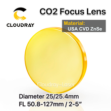 """Cloudray USA CVD ZnSe Focus Lens Dia. 25/25.4mm FL50.8/63.5/101.6mm 2 5"""" for CO2 Laser Engraving Cutting Machine Free Shipping"""