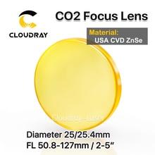 "Cloudray USA CVD ZnSe Focus Lens Dia. 25/25. 4mm FL50.8/63.5/101.6mm 2 5 ""voor CO2 Lasergravure Snijmachine Gratis Verzending"
