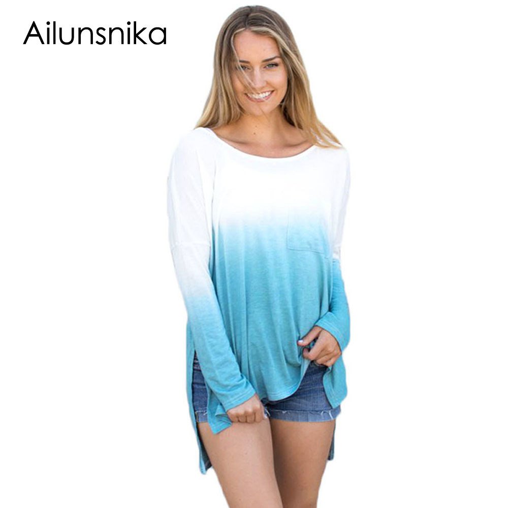 Ailunsnika 2018 New Fashion Women Blue Blouse Shirt Ombre Split Side Long Sleeve Top Women Loose Blouses Summer DL250349