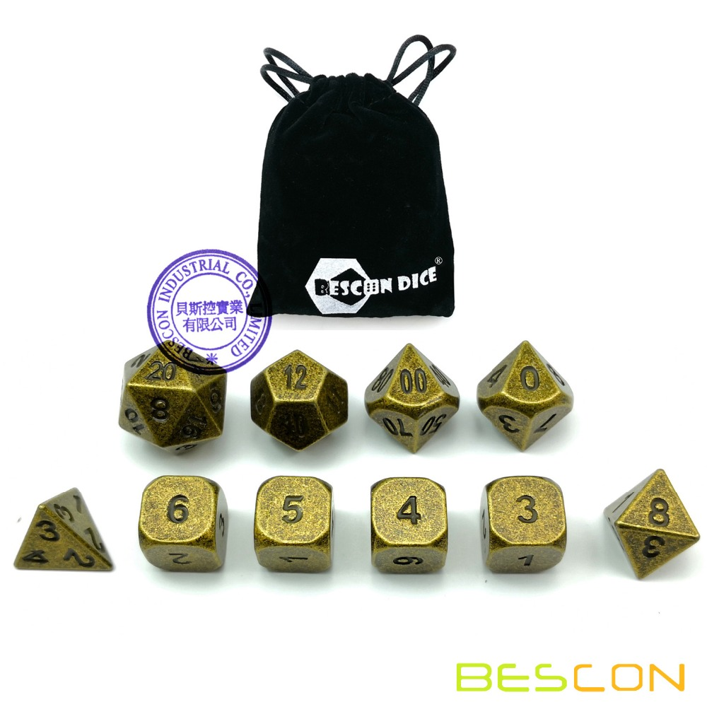 Bescon 10pcs Set Ancient Brass Solid Metal Polyhedral Dice Set, Old Finish Bronze Metal RPG Role Playing Game Dice 7+3 Extra D6s