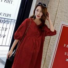 Summer Elegant Maternity Blouses A Line Loose Cotton Shirts Clothes for Pregnant Women Sexy V Neck Pregnancy Tops DF840(China)