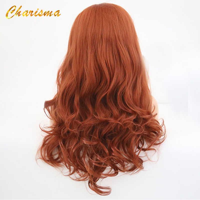 Carisma Body Wave peluca con malla frontal s Free Part peluca roja peluca sintética con malla frontal pelo de fibra de alta temperatura pelucas de mujer