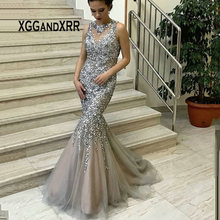 XGGandXRR Luxury Silver Mermaid Prom Dress 2019 Beading