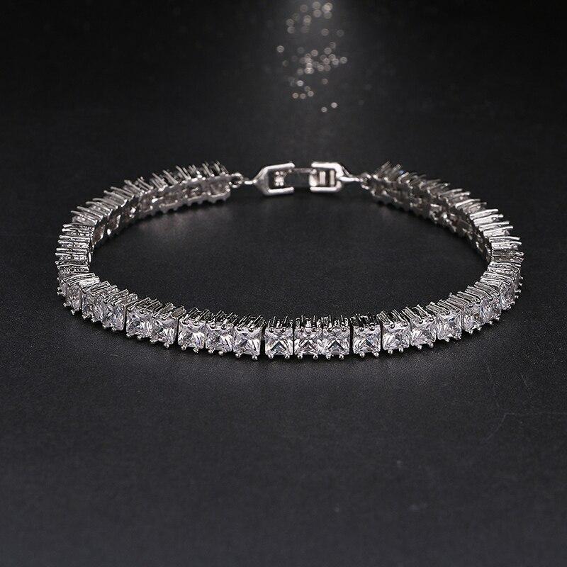 Shining 4mm Square Rhinestone CZ Women Bracelets Bangles Pulseiras Feminina For Anniversary Gifts Brilliant Charm Bracelet B-032