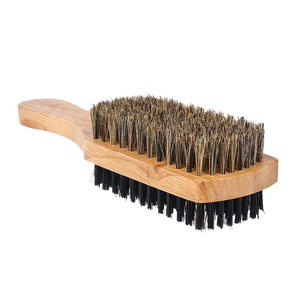 Wood Handle Men's Beard Brush Men Mustache Brushes Comb Double-sided Facial Hair Brush Male Face Shaving Brush Styling Tool