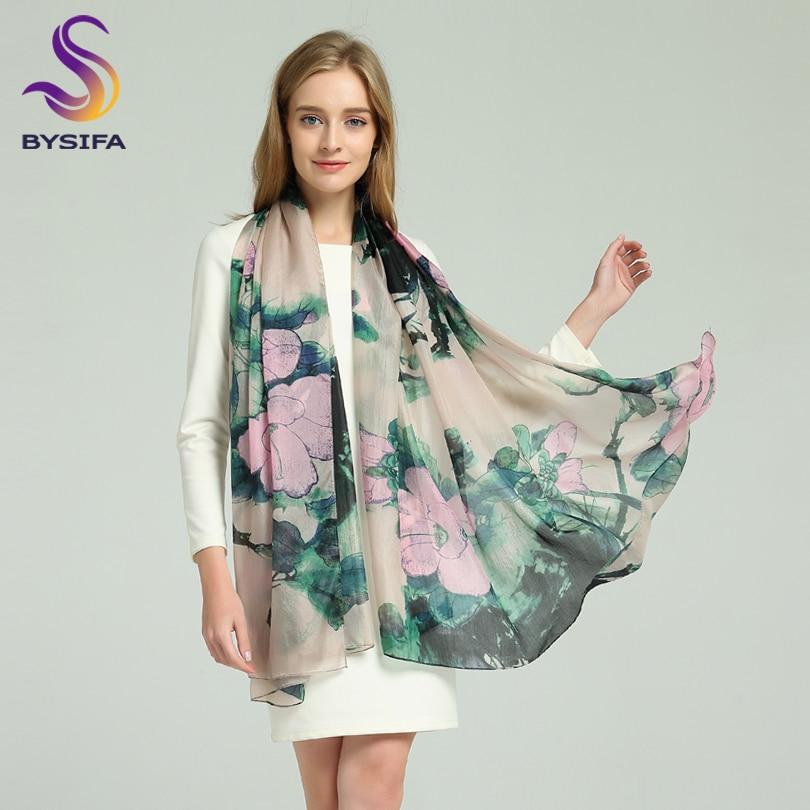 [BYSIFA] rose vert 100% foulard en soie cap printemps automne nouvelles dames longues écharpes foulards tête musulmane été plage châle couvre-ups