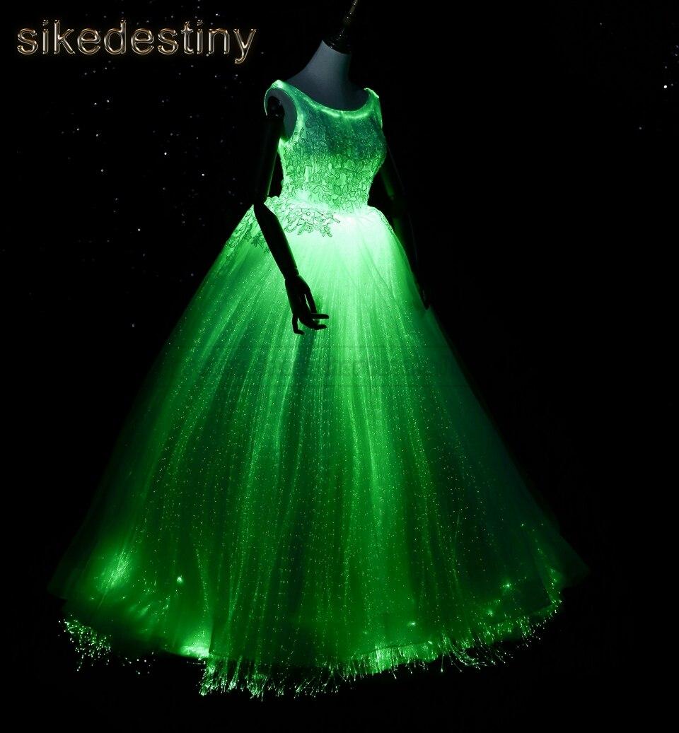 R63323 Noite Brilho No Escuro Luminoso Vestido De Casamento Jantar Anual Inteligente Aplicativo Móvel Controlado 7 Cor Variável Modelo Moda