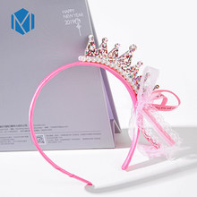 M MISM Kids Cute Pink Crown Ribbon Headband Children Shiny Hair Accessories Pearls Bowknot Lace Bands Girls