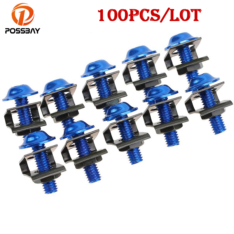 POSSBAY 100Pcs/Set Motorcycle Nuts Bolts M6 25mm Rack Mount Cage Nuts&Screws Washers Square Clips Server Bicycle Nuts Bolts