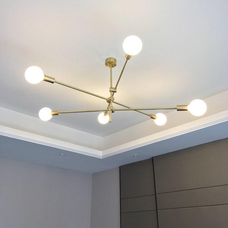 220 v 110 v moderne nordique décoration pendentif lumière or fer Cage suspension lampe pour salon chambre bar salle à manger hall