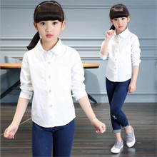 2017 New Brand Baby Girl Blouse Spring Autumn Kids School Long Sleeve Casual Cute Lace Princess Top Shirts Girl White Clothes