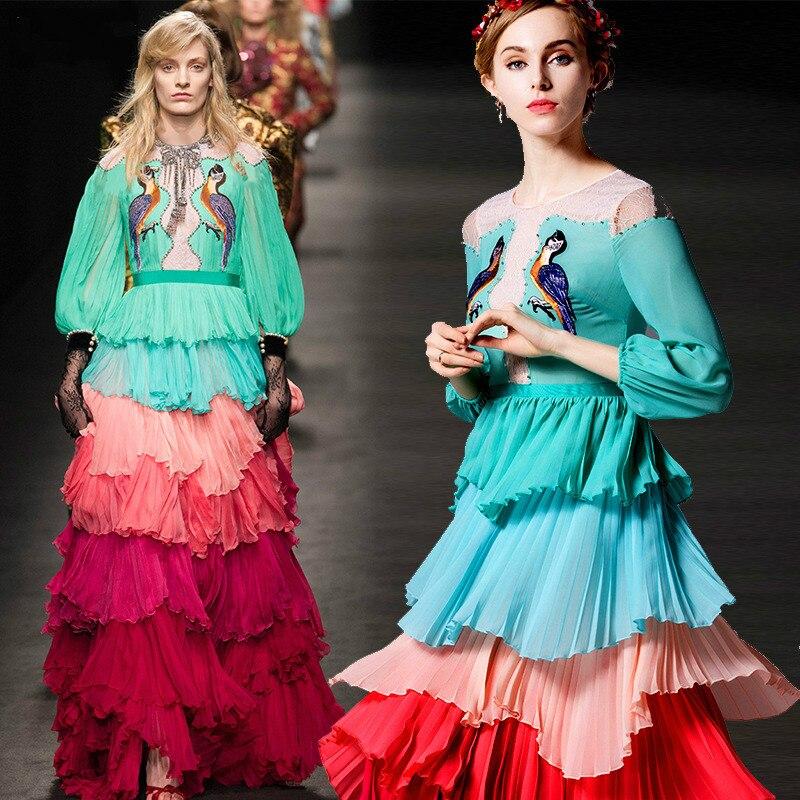 65dc66cb5 2017 Nova Primavera Moda Plus Size Maxi Vestido High-end Bordado Pista  Plissado Cor do Vestido Das Mulheres Vestido Longo Vestido