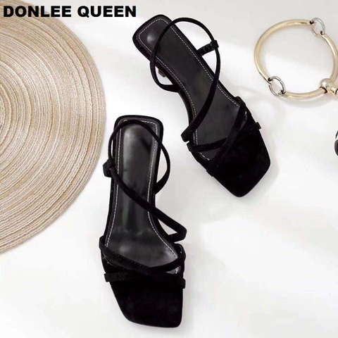 DONLEE QUEEN Black Gladiator Sandals Summer Office High Heels Shoes Woman Ankle Strap Sandal For Party Shoes Women Casual Slides Islamabad
