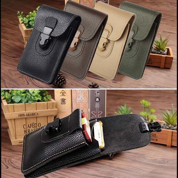 Men Leather Waist Bag Cell/Mobile Phone Coin Purse Pocket Belt Bum Pouch Pack Vintage Hip Bag Case For IPhone Waist Bags