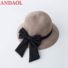ANDAOL Summer Female Casual Hat Top Quality Solid bow-knot Sun Outdoor Travel Sunscreen Wild Fisherman celebration Cap