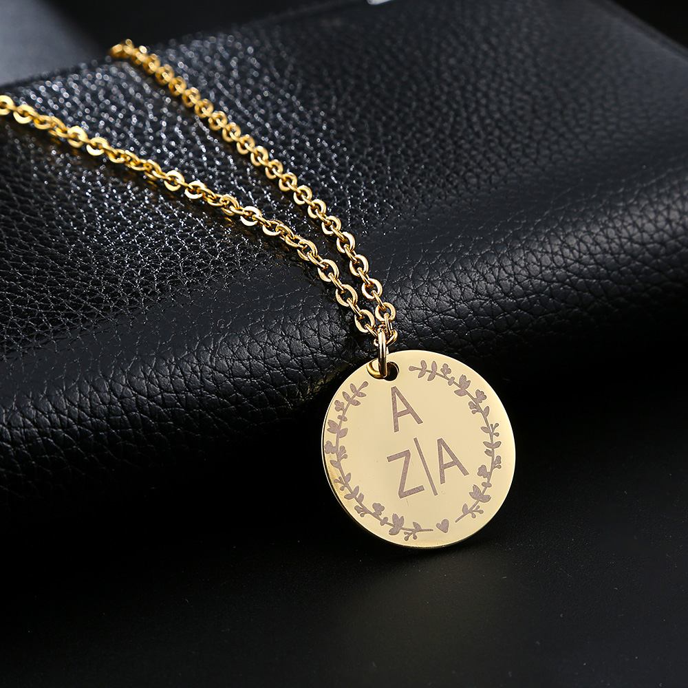 Personalized Engraved Gold Round Pendant Necklace Stainless Steel Custom Lettering Name LOGO Women Necklaces Jewelry Bridesmaid in Pendant Necklaces from Jewelry Accessories
