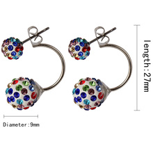 Shamballa Disco Hoop Ball Stud Earrings