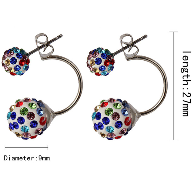 Shamballa Disco Hoop Ball Stud Earrings