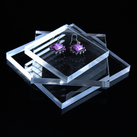 Clear Polished Acrylic Square Display Block Earring Bracelet Necklace Jewelry Stand Holder