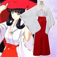 Anime Inuyasha Kikyo Kimono Full Set Cosplay Costume Halloween Costume for women Witch costume