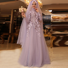 Muslim Evening Dress 2017 Robe De Soiree A line Pink Tulle Appliques Women Formal Gowns Long Sleeves Hijab Evening Dresses