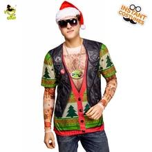 Мужская поддельная Рождественская футболка костюм косплей карнававечерние льная Вечеринка 3 D крутая куртка Футболка костюмы Санта Клаус на футболка с рождественским рисунком