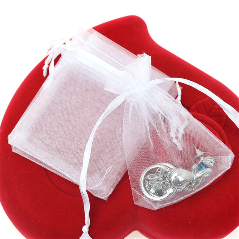 50pcs/lot Solid Jewelry Bags Drawstring Organza Wedding Gift Bag Candy Pouch Sundries Coins Storage Orgnizer Packaging Pouches