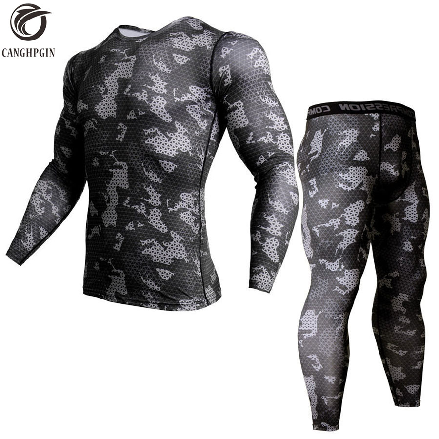 Camouflage 3D T-Shirt Compression Set Men Run jogging Suits Fitness Sports Sets Long Sleeve Shirt And Pants Gym Workout Tights t shirt adidas cw1989 sports and entertainment for men