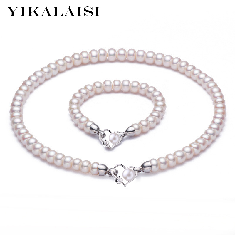 YIKALAISI 925 Sterling Silver Natural Freshwater Pearl Choker Necklace Bracelet Fashion Sets For Women 8-9mm Pearl 4 colourYIKALAISI 925 Sterling Silver Natural Freshwater Pearl Choker Necklace Bracelet Fashion Sets For Women 8-9mm Pearl 4 colour