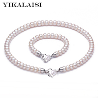 YIKALAISI 925 Sterling Silver Natural Freshwater Pearl Choker Necklace Bracelet Fashion Sets For Women 8 9mm Pearl 4 colour