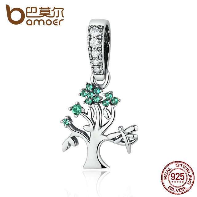 Sterling Silver Vivid Green Tree of Life Pendant Charm