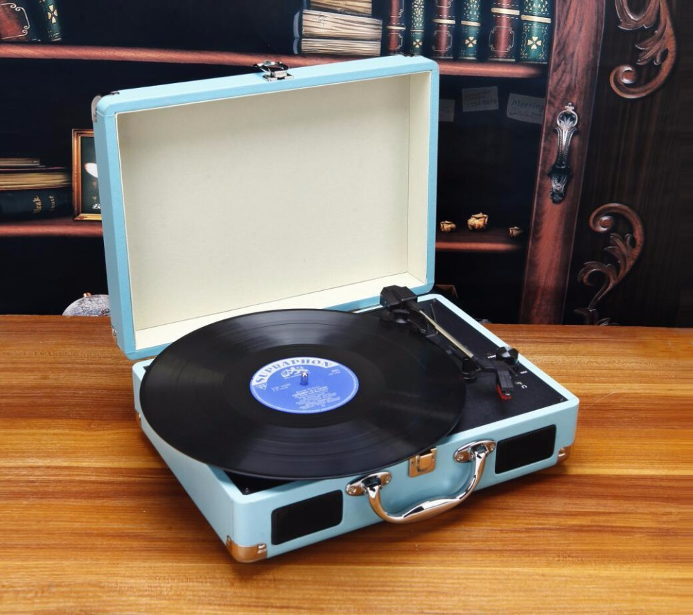 2017 New Music Hall Portable 3-Speed Stereo Turntable Retro LP Vinyl Record Player Built-in Speakers  in Suitcase electric light orchestra – a new world record lp
