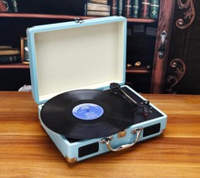 2017 New Music Hall Portable 3-Speed Stereo Turntable Retro LP Vinyl Record Player Built-in Speakers  in Suitcase