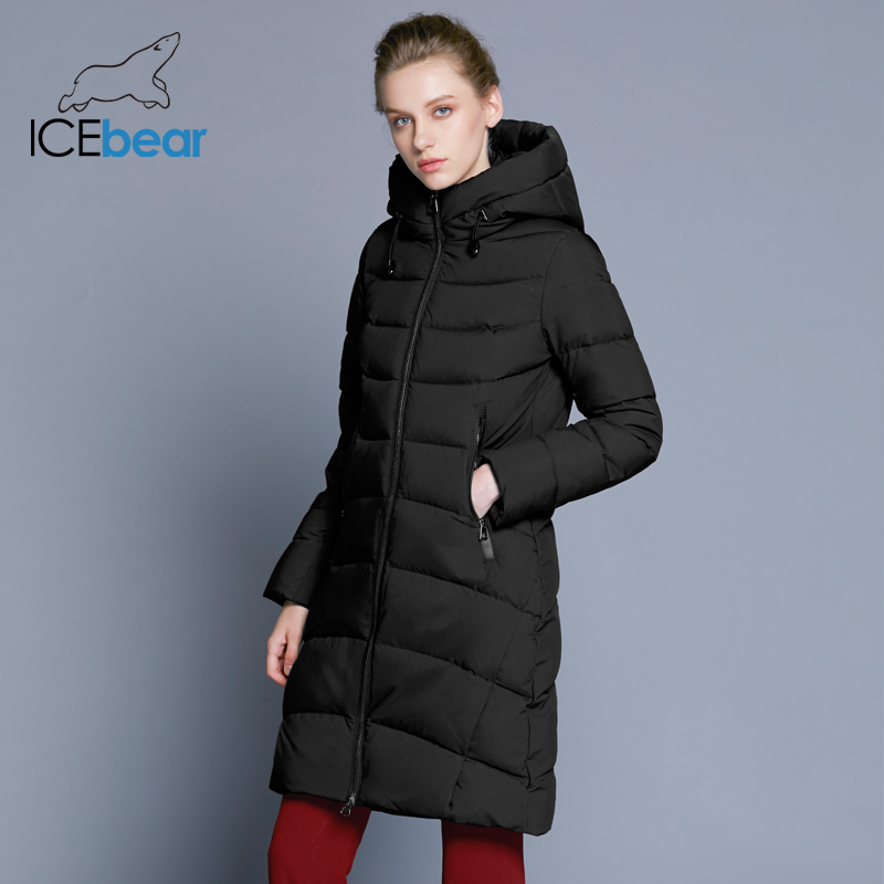 ICEbear 2018 nouvelle qualité supérieure manteau d'hiver femmes à capuchon veste coupe-vent longues femmes vêtements de haute qualité à glissière en métal GWD18101D