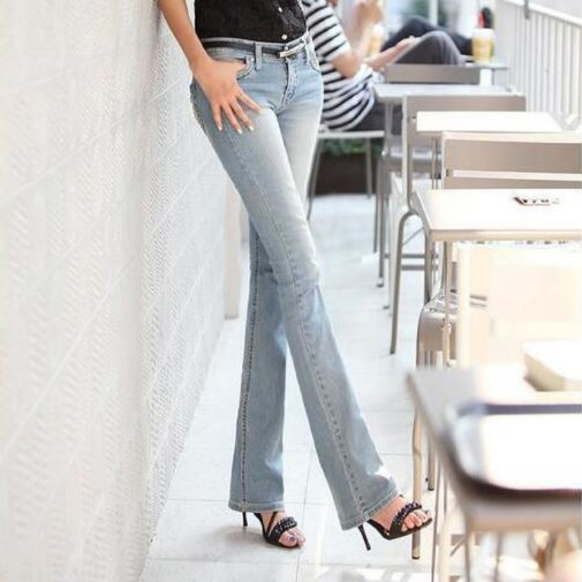 New elastic jeans female micro flared trousers show thin buttock big female jeans code cowboy pants