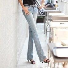 Новые эластичные джинсы женский микро расклешенных брюках показать тонкие ягодичные большие женские джинсы ковбой брюки