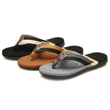 Мужские Пляжные Шлепанцы из коровьей кожи; модные Вьетнамки с мягкой подошвой; трендовая дышащая мужская летняя обувь; три цвета