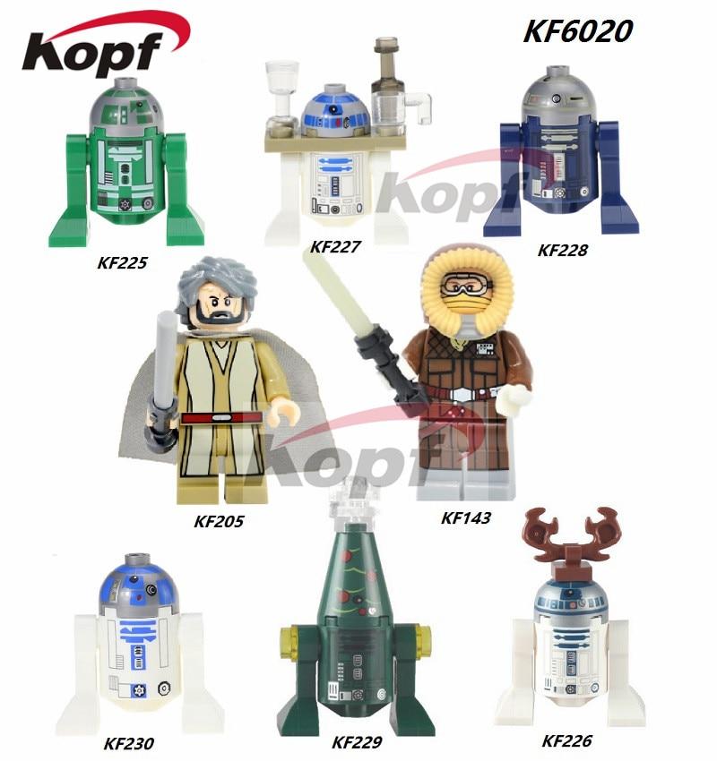 Single Sale Star Wars Han Solo Luke Skywalker BB8 R3-D5 R3D5 Reindeer R2D2 Blue Building Blocks Bricks Children Gift Toys KF6020 haogaole 320pc pg8037 star wars luke skywalker admiral wullf yularen asajj ventress han solo embo jawa kids toys