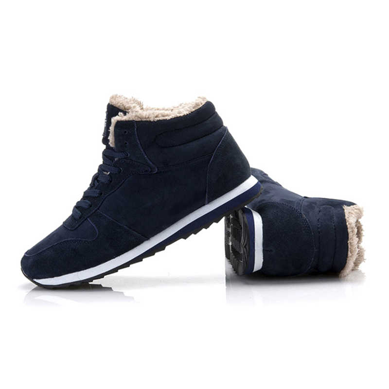 גברים מגפי שלג מגפי חורף נעלי גברים חורף סניקרס חם פרווה קרסול מגפיים בתוספת גודל שלג נעלי חורף גברים חורף מגפיים הנעלה