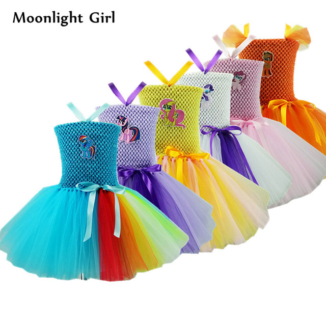 66551ace85 New Pony Unicorn Dress Girls Tutu Dress Princess Cartoon Rainbow Unicorn  Costume Halloween Costume For Kids