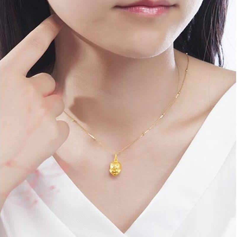 Новое поступление 24 K подвеска из желтого золота Китайский Зодиак милый сердце цепочка со Свинкой кулон - 2