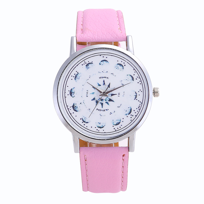 New Women's Watches Leather Watch Steel Flower Pointer Dial Solid Color High Quality Fashion Student WatchStainless Steel Dial