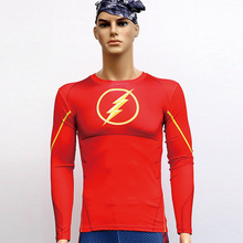 Flash man T Shirts Long Sleeve High Elastic Fast Dry Tops Super Hero Shirts Water Proof Sport Riding Outdoor Tops